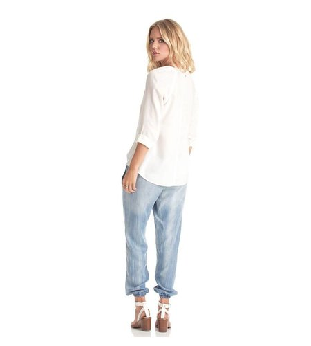 Bella Dahl Blouse Patch Pocket Button Down White