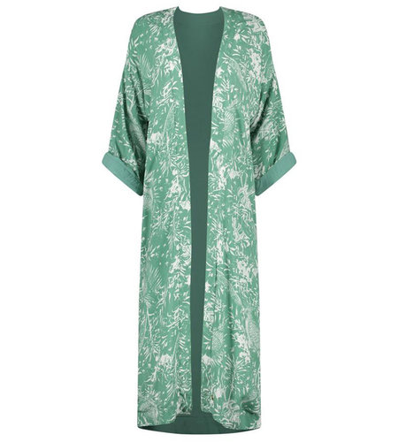 Birds On The Run Kimono Long Reversible With Tropical Design