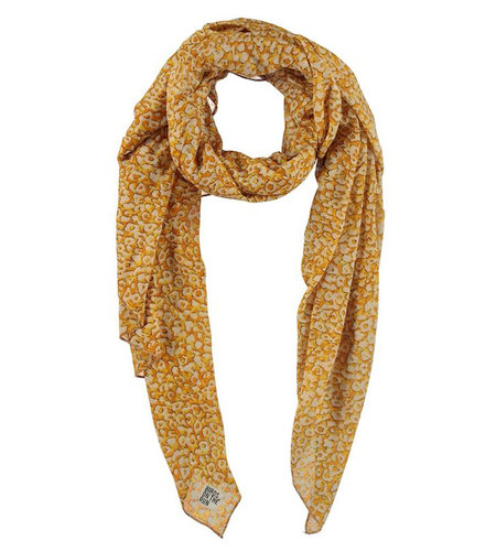 Birds On The Run Scarf With Allover Animal Print Ocre