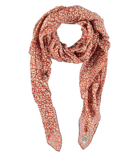 Birds On The Run Scarf With Allover Animal Print Red