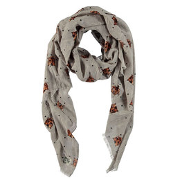 Birds On The Run Scarf With Tiger Heads
