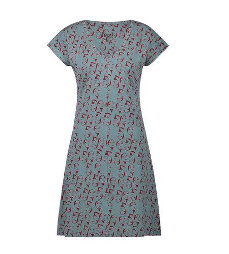 IEZ! Dress Face Jersey Print Grey Blue Brown
