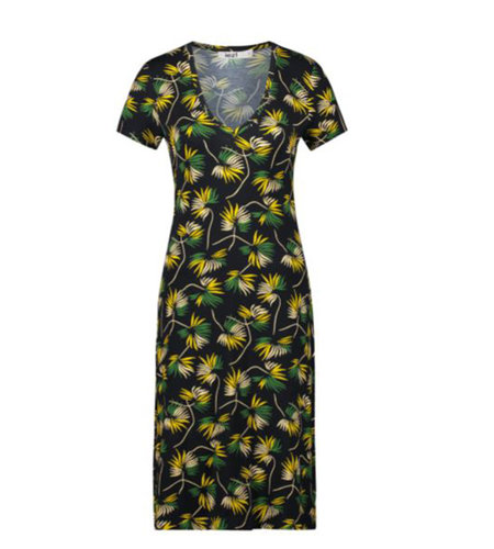 IEZ! Dress Jersey Print Flower Yellow White Green Black