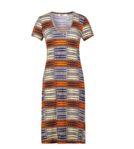 IEZ! Dress Jersey Print Stripe Blue Red White