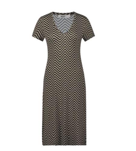 IEZ! Dress Jersey Print Stripe Keper Camel Black