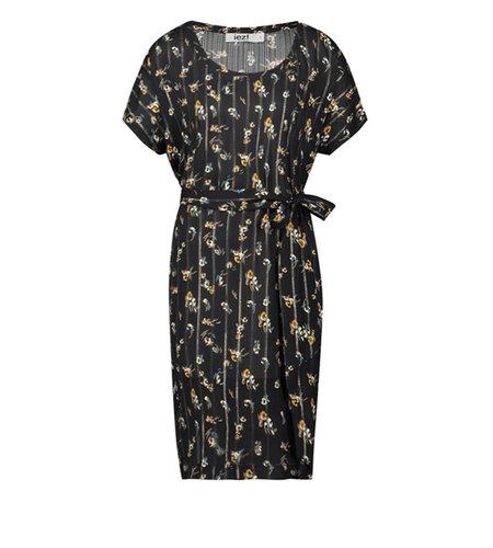 IEZ! Dress Tunic Short Woven Flower With Glitter Stripe