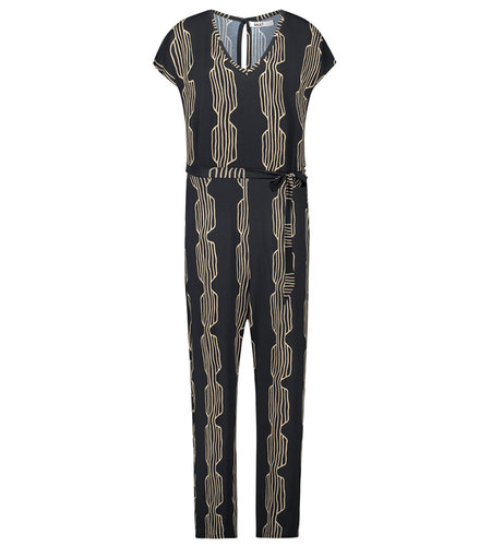 IEZ! Suit Jersey Print Stripe Camel Black