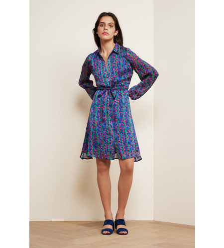 Fabienne Chapot Frieda Short Dress Fan Blue Cactus Green