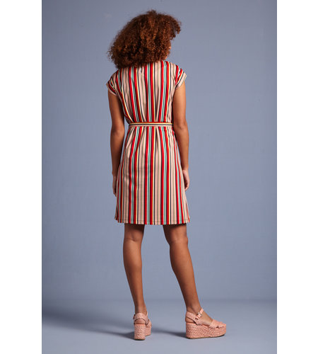 King Louie Shirley Dress Lido Stripe Chili Red