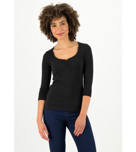 Blutsgeschwister Logo 3/4 Sleeve Decolleté Shirt Simply Black