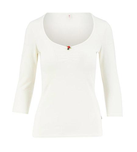 Blutsgeschwister Logo 3/4 Sleeve Decolleté Shirt Simply White