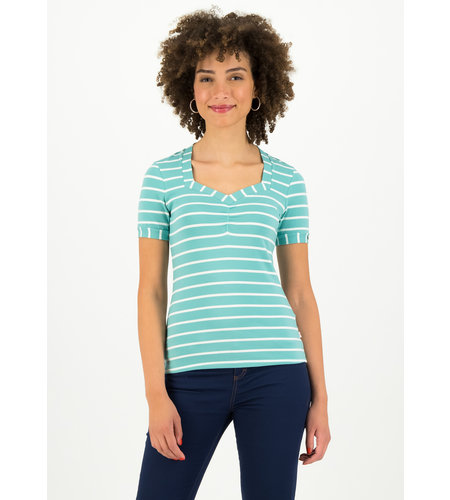 Blutsgeschwister Logo Stripe T-Shirt Color Stripe Of Aqua