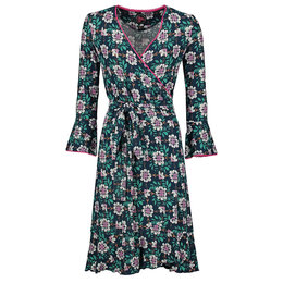 Tante Betsy Ruffle Wrap Dress Forest Flower Navy