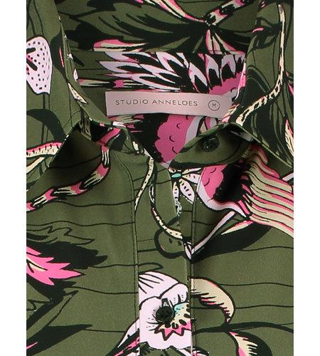 Studio Anneloes Poppy Blouse 3/4 Sleeve Army Black