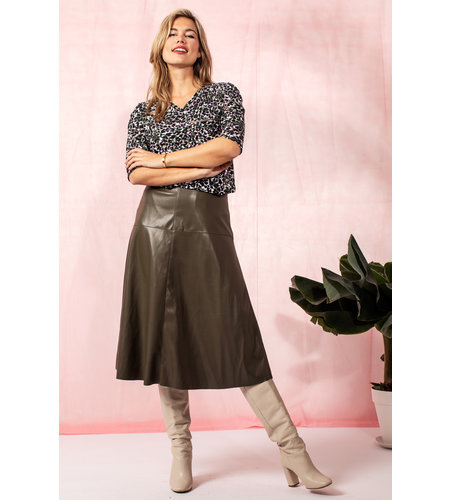 Studio Anneloes Penny Leather Skirt Army