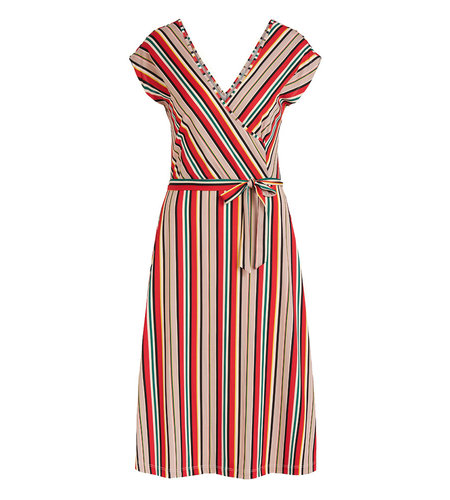King Louie Mira Dress Lido Stripe Chili Red