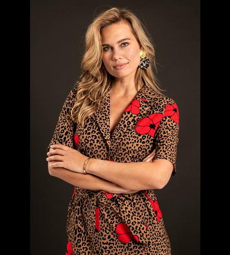 Studio Anneloes Cinta Leo Flower Dress Camel Black