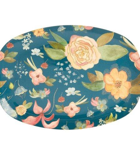 RICE Melamine Rectangular Plate Selma Fall Flower