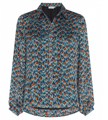 Fabienne Chapot Frida Collar Blouse Dusty Blue Taupe