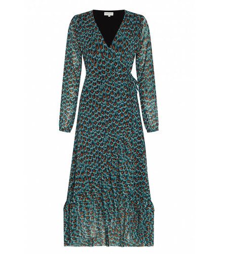 Fabienne Chapot Natasja Frill Dress Dusty Blue Taupe Peacock Party