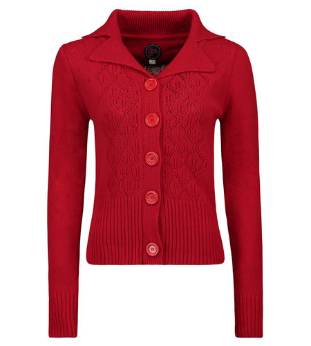 Tante Betsy Cardi Collar Red