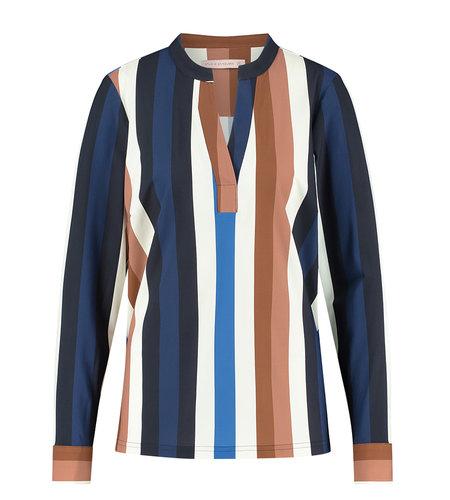 Studio Anneloes Melly Stripe Shirt Dark Blue Cognac