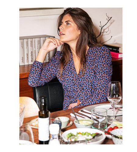 Studio Anneloes Lina Leopard Shirt Cobalt Cognac