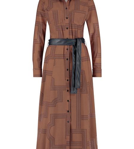 Studio Anneloes Indy Longsleeve Rope Dress Cognac Dark Blue