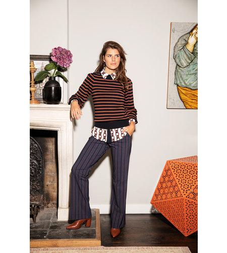 Studio Anneloes Marilyn Pinstripe Trousers Dark Blue Cognac