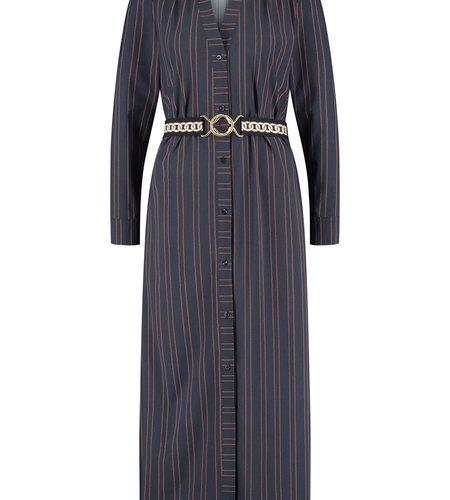 Studio Anneloes Shelby Pinstripe Longsleeve Dress Dark Blue Cognac