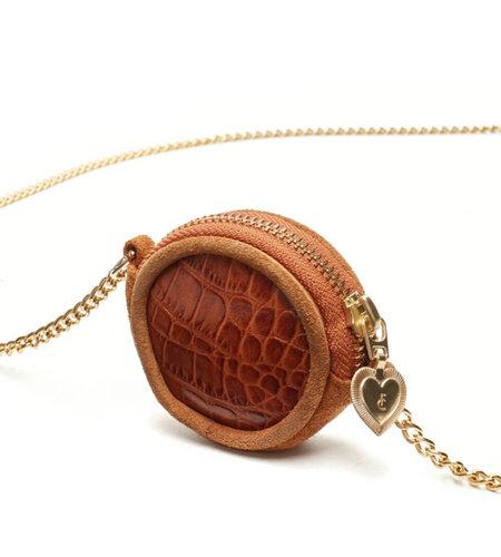 Fabienne Chapot Roundy Micro Necklace Croco Cognac