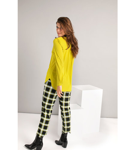 Studio Anneloes Annet Check Trousers  Black Moss Green