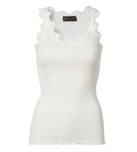 Rosemunde Iconic Silk Top With Lace  New White