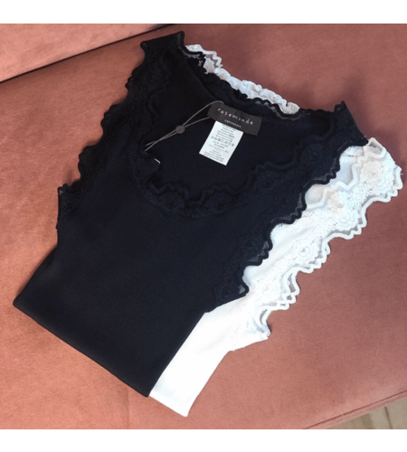 Rosemunde Iconic Silk Top With Lace  Navy Blue