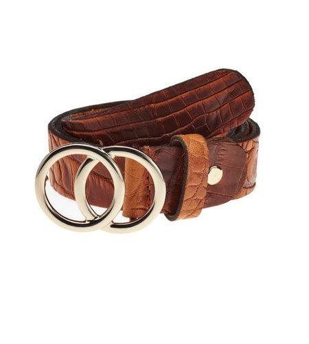 Elvy Croco Belt Women Cognac Gold