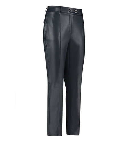 Studio Anneloes Romy Faux Leather Trousers Dark Blue