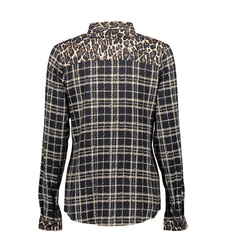 Geisha Blouse Combi Leopard and Check Sand 03947-20