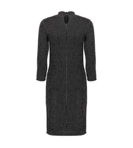 Geisha Dress Lurex Stripe Long Sleeve Black Gold 07832-41