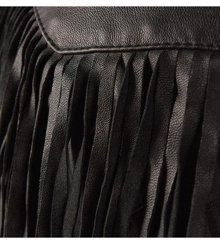 Karma of Charme Leather Fringes Jacket Black