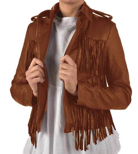 Karma of Charme Leather Fringes Jacket Cognac