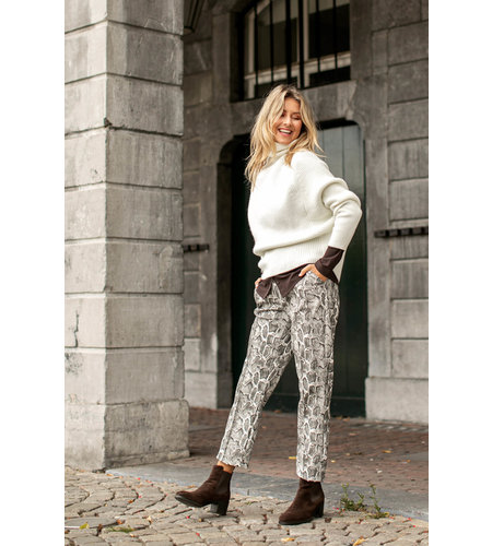 Studio Anneloes Romy Cobra Leather Trousers Black Off White