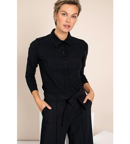 Studio Anneloes Poppy Pinstripe Shirt Dark Blue Off White