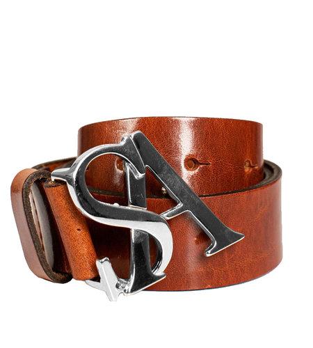 Studio Anneloes SA Silver Buckle Leather Belt Cognac
