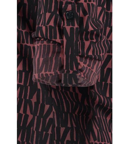 Studio Anneloes Evi Medium Letter Collar Blouse Wine Red Dark Blue
