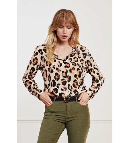 Fabienne Chapot Lily Cato Blouse Oatmeal Chocolate Br