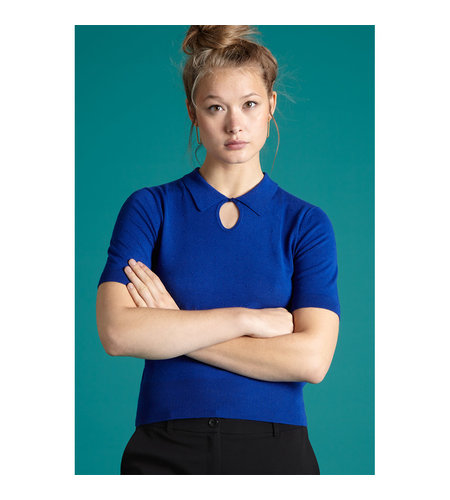 King Louie Collar Knit Top Droplet Dazzling Blue