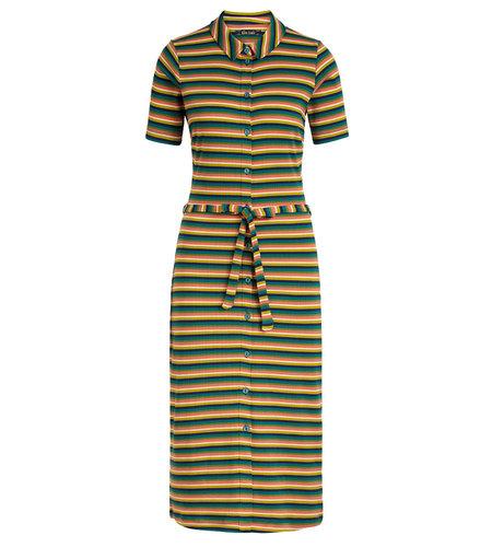 King Louie Rose Slim Fit Dress Daydream Stripe Eden Green
