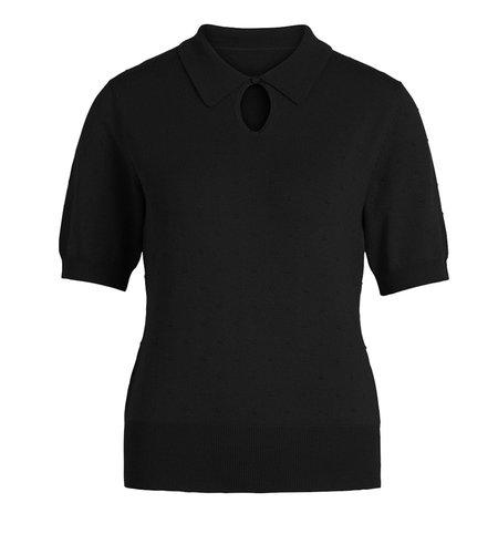 King Louie Collar Knit Top Droplet Black