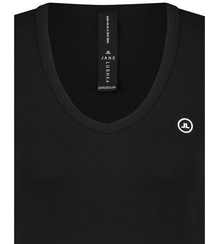 Jane Lushka T Shirt V Neck Easy Wear Black