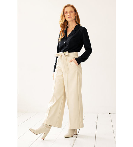 Studio Anneloes Charlotte Croco Leather Trousers Off White